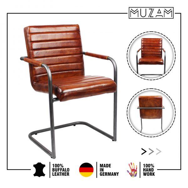 Cantilever Cognac Leather Chair