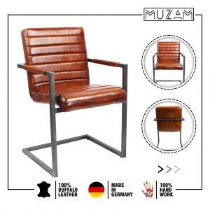 Freischwinger Stuhl mit Armlehnen